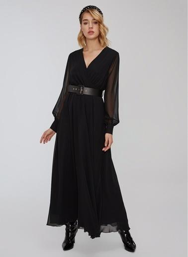 People By Fabrika Kemerli Elbise Siyah